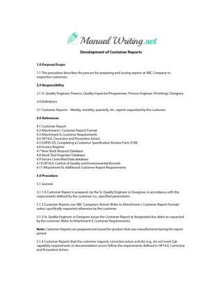 Procedure Manual Sample