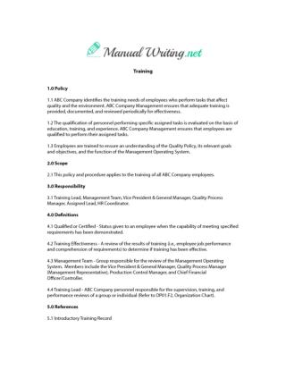 Training Manual Sample
