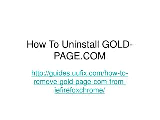 How to uninstall gold page.com