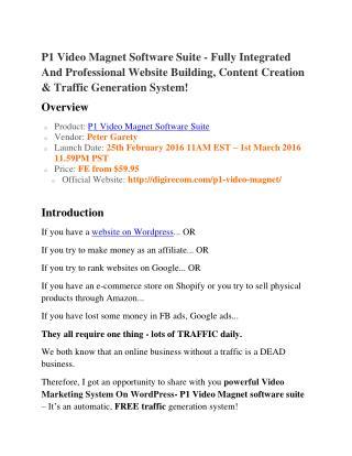 P1 Video Magnet Software Suite