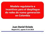 Modelo regulatorio e incentivos para el despliegue de redes de nueva generaci n en Colombia
