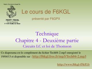 Technique Chapitre 4 - Deuxi me partie Circuits LC et loi de Thomson