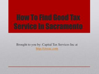 How To Find Good Tax Service In Sacramento