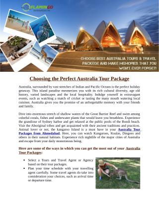 Choosing the Perfect Australia Tour Package