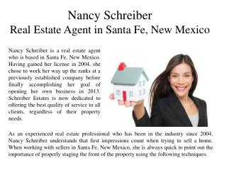 Nancy Schreiber Real Estate Agent in Santa Fe, New Mexico