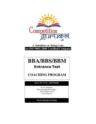 BBA/BMS/BBS Entrance Exam Coaching 2016 in Uttam Nagar & Janakpuri, Delhi - Competition Gurukul