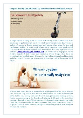 Carpet Cleaning In Renton WA by Professional and Certified Cleaners