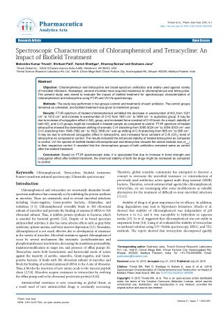 Spectroscopic Characterization of Chloramphenicol and Tetracycline: AnImpact of Biofield Treatment
