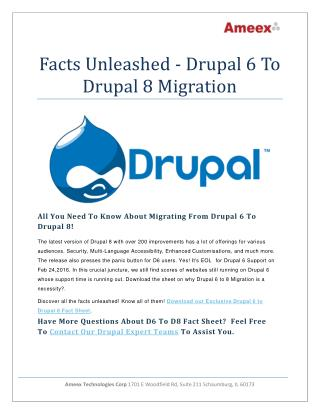 Facts Unleashed Drupal 6 to Drupal 8 Migration