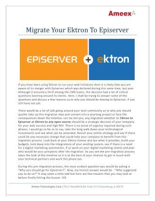 Migrate Your Ektron To Episerver