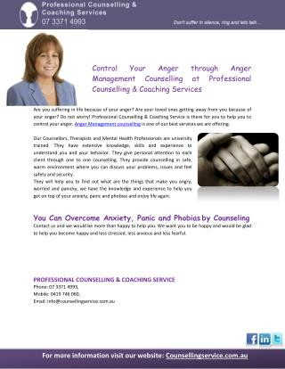 Control Your Anger through Anger Management Counselling at Professional Counselling & Coaching Services
