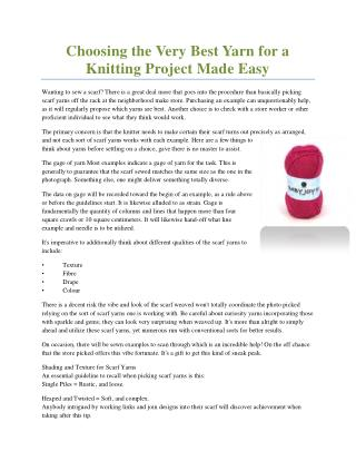 Choosing the Very Best Yarn for a Knitting Project Made Easy
