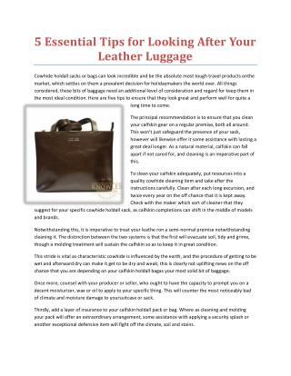 5 Essential Tips for Looking After Your Leather Luggage
