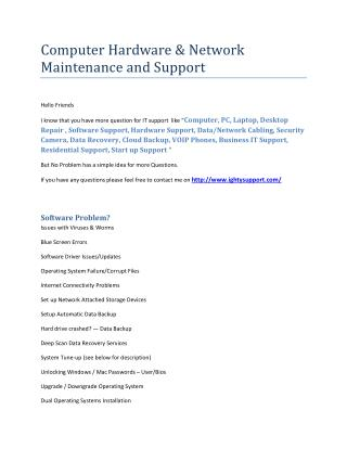 Computer Hardware & Network Maintenance and Support