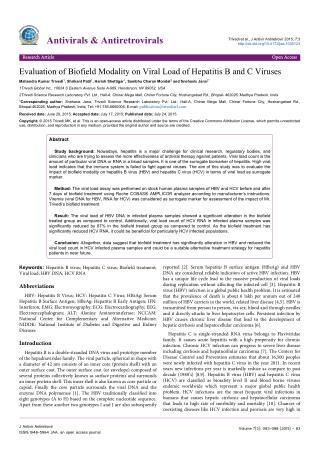 Biofield Modality on Viral Load of Hepatitis B & C Viruses