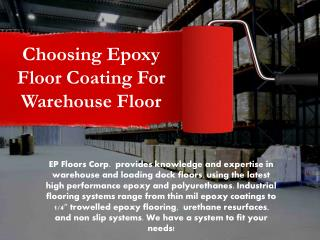 Choosing Epoxy Floor Coating for Warehouse Floor