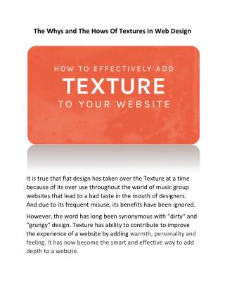 The Whys and The Hows Of Textures In Web Design