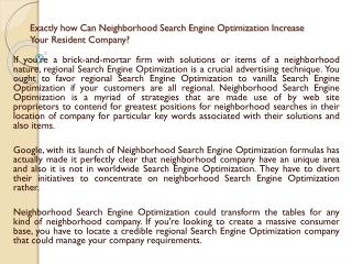 Exactly how Can Neighborhood Search Engine Optimization Increase