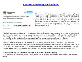 Is your security turning into shelfware?