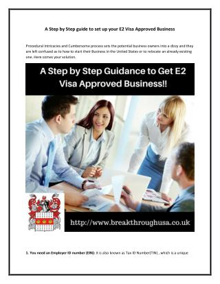 A Step by Step Guide to Set Up Your E2 Visa Approved Business