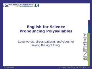 English for Science Pronouncing Polysyllables
