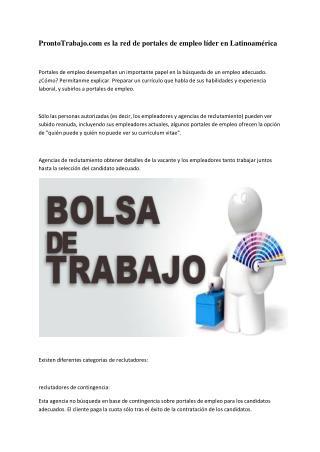 ProntoTrabajo.com es la red de portales de empleo líder en Latinoamérica