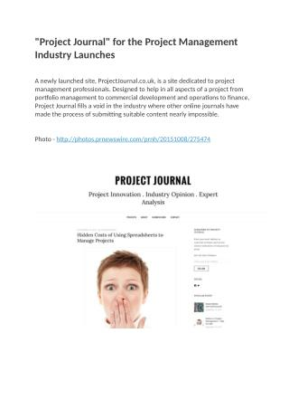 Project Journal for the Project Management Industry Launches