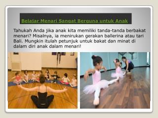 Belajar Menari Sangat Berguna untuk Anak