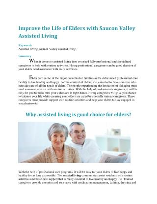 Improve the Life of Elders with Saucon Valley Assisted Living