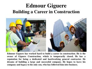 Edmour Giguere - Building a Career in Construction