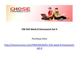FIN 534 Week 8 Homework Set 4