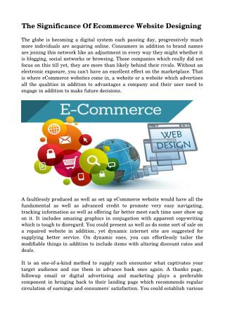 The Significance Of Ecommerce Website Designing