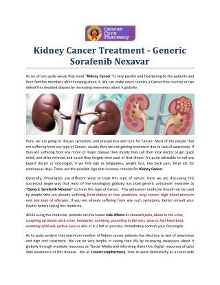 Kidney Cancer Treatment - Generic  Sorafenib Nexavar