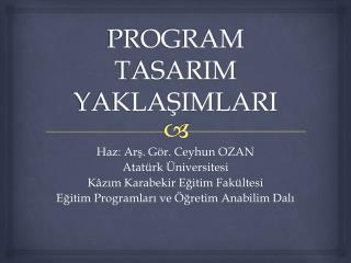 PROGRAM TASARIM YAKLASIMLARI