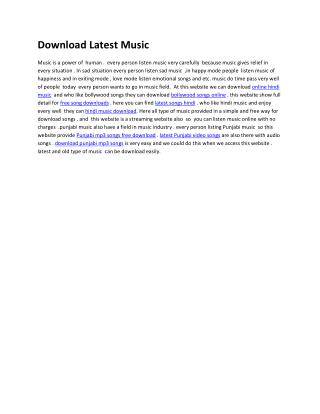 Download Latest Music | A complete music store for download, upload your favourite songs