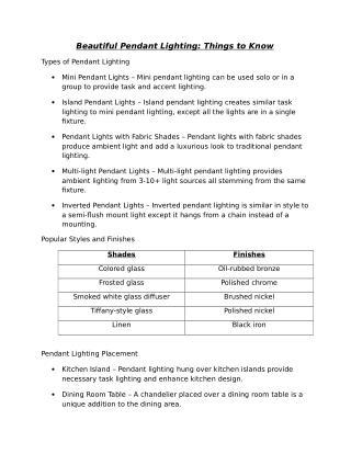 Beautiful Pendant Lighting: Things to Know
