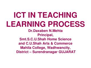 Role of ICT in Teaching Learning Process
