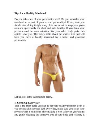 Tips for a Healthy Manhood