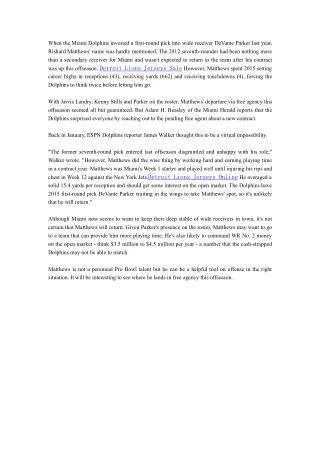 Miami Dolphins: DeVante Parker Not Replacing Rishard Matthews?