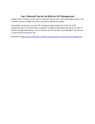 Top 5 Adwords Tips for An Effective PPC Management