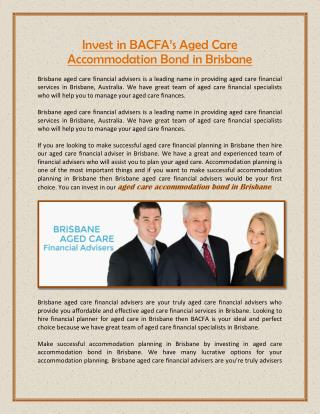 Invest in BACFA�s Aged Care Accommodation Bond in Brisbane