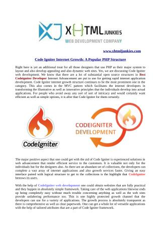 Code igniter internet growth: a popular php structure