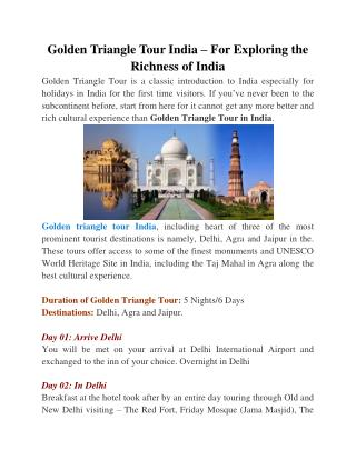Golden Triangle Tour India � For Exploring the Richness of India