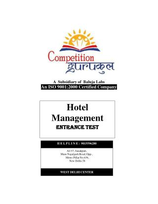 Hotel Management Coaching in Uttam Nagar & Janakpuri, Delhi - Competition Gurukul