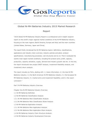 Global Ni-MH Batteries Industry 2015 Market Research Report