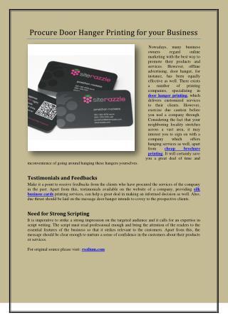 Procure Door Hanger Printing for your Business