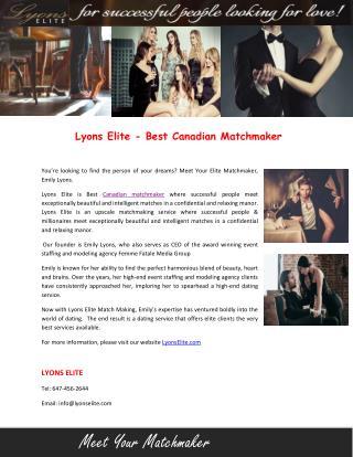 Lyons Elite - Best Canadian Matchmaker