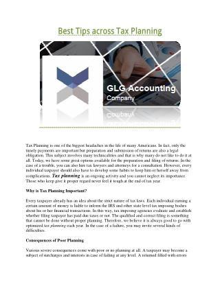Best Tips across Tax Planning