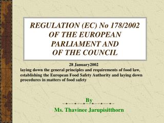 REGULATION EC No 178