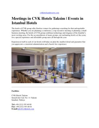 Meetings in cvk hotels taksim - events in istanbul hotels